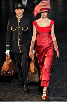 "Louis Vuitton Fall-2012  Love the dress!  Love the hat! love the footman carrying the bags!  ""Downton Abbey"" much?"