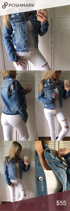 "Distressed Jean Jacket 🎉 30% OFF ANY BUNDLE Description• The best distressed Jean jacket out there. New without tags. Boutique brand   Measurements• APPROX Bust (pit/pit) 18"" length 21""  Material•  Bundle and save  Photo credit (model pics) to @mrsperkins  Hashtags / tags• #denim #denimjacket #distresseddenim Jackets & Coats Jean Jackets"