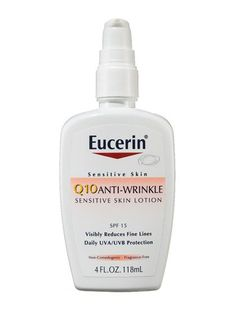 TOP 8 ANTI-AGING PRODUCTS UNDER $20    Eucerin Q10 Anti-Wrinkle Sensitive Skin Lotion SPF 15