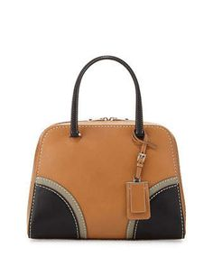Prada Soft Calf Medium Tricolor Inside Bag, White/Black/Light Blue ... - prada galleria bag white + black + caramel