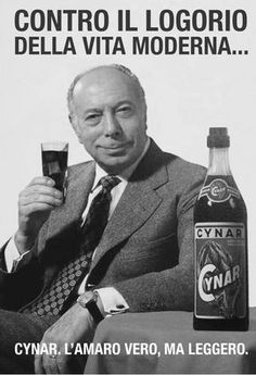 bitter Cynar - vintage poster with Ernesto Calindri, a famous Italian actor - Drink Vintage Italian Posters, Vintage Advertising Posters, Advertising Campaign, Vintage Advertisements, Vintage Ads, Retro Poster, Poster Vintage, Nostalgia, Non Plus Ultra