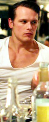 Dear Lord, we thank You for creating V-Neck white T-shirts so that Sam Heughan can wear them and show off his neck and chest. Amen.