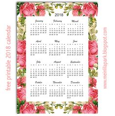 "Free printable 2018 calendar ""roses"" - year at a glance | MeinLilaPark"