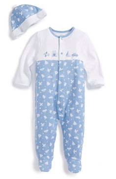 Free shipping and returns on Little Me 'Toys' One-Piece & Hat (Baby Boys) at Nordstrom.com. Snuggle him in a supersoft cotton one-piece featuring a charming toy print and embroidery on a baby-blue background. A matching beanie completes the playful set.