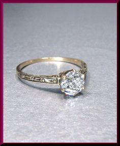 Antique Vintage Victorian 14K Pink Gold Old European Cut Diamond Solitaire…