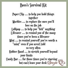 Boss's Survival Kit includes Topper and Card by SuzieQsCrafts – Izandin Tutorial and Ideas Survival Kit Gifts, Survival Supplies, Survival Tips, Survival Skills, Survival Kit For Teachers, Survival Quotes, Survival Food, Emergency Preparedness, Office Survival Kit