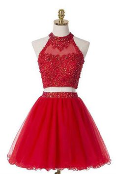 2018 Prom Dresses #2018PromDresses, Prom Dresses Two Piece #PromDressesTwoPiece, Custom Made Prom Dresses #CustomMadePromDresses, Prom Dresses Red #PromDressesRed