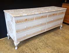 8 Drawer Queen Anne Grey and Gold Sideboard Grey And Gold, Refurbished Furniture, Queen Anne, Sideboard, Drawers, Storage, Stuff To Buy, Home Decor, Purse Storage