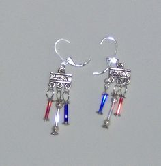 Red White and Blue Small Dangle Long Bead by HandCraftedMinds