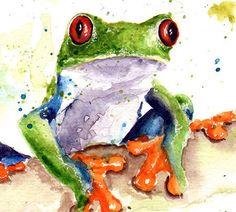 Frosch-ART-PRINT Aquarell Frosch malen rote Augen von SignedSweet