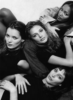 Kate, Bridget, Christy & Naomi by Patrick Demarchelier for Marie Claire UK (1994)