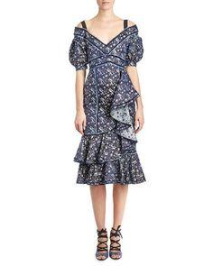 B3RR7 Erdem Kaitlyn Floral-Print Midi Dress, Blue