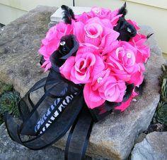 Wedding bouquet HOT PINK/Fuchsia BLACK  Bridal by Shelligirl37, $120.00