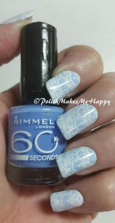 "I love that look of white stamped with blue, and I am in love with this soft manicure!  The white I used was from Rimmel London, just white and I went with a periwinkle blue, also from Rimmel London, ""Mind the Gap, Victoria"" using a bornprettystore plate BP-17. This polish stamped perfectly!!!"