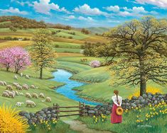 Longing for Nature … ❤ - Malerei Beautiful Paintings, Beautiful Landscapes, Landscape Art, Landscape Paintings, Images D'art, Arte Country, Farm Art, Cottage Art, Naive Art