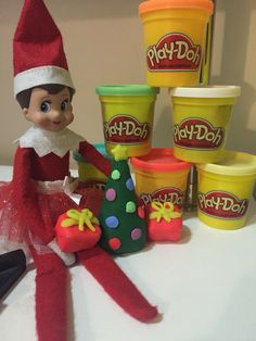 Elf on the shelf using play-doh