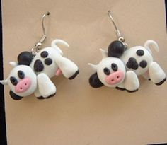 COW EARRINGS ~ HUGE Mini Mad Cow Dairy Farm Animal Clay Jewelry