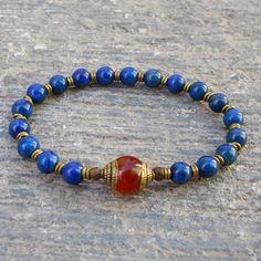 compassion - genuine lapis lazuli gemstone mala bracelet with a Tibeta – Lovepray jewelry