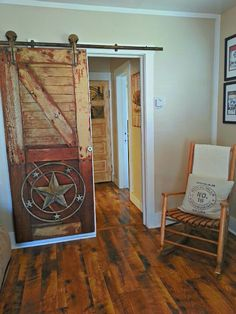 Rustic sliding door... Hang something on door.. donbrady
