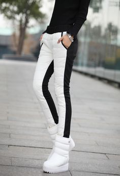12冬季新款女装裤子韩版修身显瘦白鸭羽绒长裤女式外穿靴裤小脚裤-淘宝网