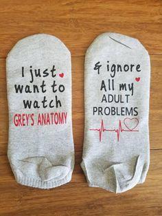 Grey's Anatomy Socks, I just want to watch Grey's Anatomy socks, heart monitor line socks, Grey's Anatomy fan, Heart Grey's Anatomy Socks by PearLilly on Etsy