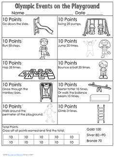 free printable with pocket chart vocabulary cards and a playground activity to get the children moving - RD already saved Olympic Games For Kids, Olympic Idea, Olympic Sports, Olympic Gymnastics, Kids Olympics, Summer Olympics, Olympic Crafts, Playground Games, Camping Crafts