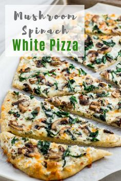 Mushroom Spinach White Pizza - Homemade white pizza recipe that takes less than 30 minutes to make! Creamy ricotta with sautéed mushroom and spinach is match made in heaven. It definitely will be a pleasant switch up from your ordinary red sauce pizza. Mushroom Pizza Recipes, White Pizza Recipes, Dinner Recipes, Gourmet Pizza Recipes, White Pizza Recipe Spinach, Veggie Pizza Recipes, Gourmet Pizza Toppings, Flatbread Pizza Recipes, Breakfast Recipes