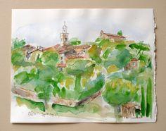 PROVENCE AQUARELLE originale village en par Cheval2couleur