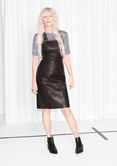 & Other Stories   Leather Dungaree Dress