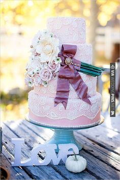 pink lace wedding cake | CHECK OUT MORE IDEAS AT WEDDINGPINS.NET | #weddingcakes
