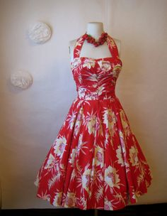 hawaiian dress. 1950s dress. vintage 50s red floral halter dress.. $245.00, via Etsy.