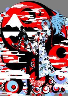 フリーイラスト 着物姿の少女と和風の背景