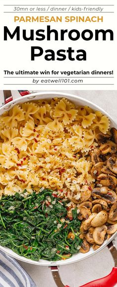 Parmesan Spinach Mushroom Pasta Skillet - Super quick and impossible to mess up! This parmesan spinach mushroom pasta skillet is the ultimate win for vegetarian weeknight dinners! Tasty Vegetarian Recipes, Best Pasta Recipes, Vegetarian Dinners, Easy Dinner Recipes, Healthy Recipes, Ovo Vegetarian, Spinach Mushroom Pasta, Spinach Stuffed Mushrooms, Sauteed Mushrooms