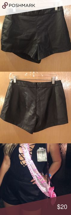 Leather high waisted shorts! Worn once, selling because they're a little too big for me. They're super cute! They're a size 9, I'm usually a size 4 and they still fit just fine. Hollister Shorts