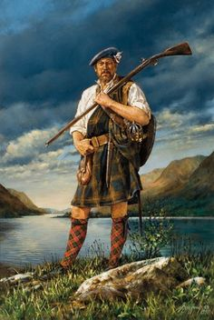 """The Jacobite Leaving Loch Rannoch"" by Robert Griffing. I like the sheer ruggedness and pride this painting captures. #highlander #Scottish #outdoorsman #portrait #painting #kilt"