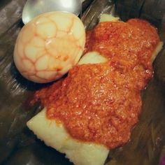 Buras banjar with bumbu masak habang, best in the world, kalimantan selatan, Indonesia