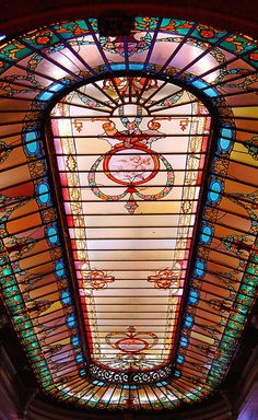 The ceiling of Confeitaria Colombo, a beautiful restaurant, in downtown Rio by mistca, via Flickr