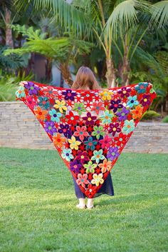 Beautiful colorful #crochet shawl by @Regina Martinez Rioux inspired by @Sarah Chintomby london