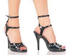 Pleaser Shoes Desire-115 Black Patent Black patent fetish sandals with metal stud decorations on the main strap and two side straps which support two ankle straps with metallic buckle fastening. The glossy look of the patent is complement http://www.MightGet.com/january-2017-12/pleaser-shoes-desire-115-black-patent.asp
