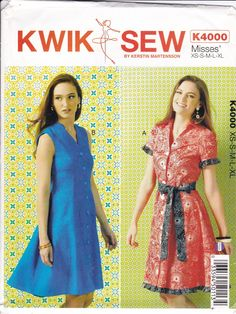 New Sewing Pattern Kwik Sew 4000 Misses Classic V Shirtdress Dress Plus Size XS-XL Bust 30 32 34 36 38 40 42 44 45 by LanetzLiving on Etsy