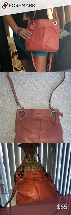Coach leather shoulder satchel Gorgeous subdued orange leather coach satchel/shoulder bag. Silver hardware. Beautiful fall color -- excellent condition! Coach Bags Shoulder Bags