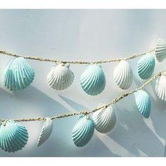 Seashell Garland Beach Wedding Decoration, Blue and White Sea Shell Garland, Shabby Chic Coastal Cottage Home Decor