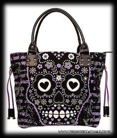 Gothic Punk Purple Sugar Skull Bag Estilo Rock, Grunge, Sugar Skulls, Candy  Skulls 28a61f25c3e