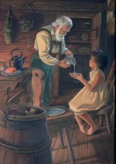 """Ruth Sanderson illustration from the """"Heidi"""" edition I read a hundred times growing up.  It seemed the most perfect little cottage in all the world."""