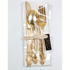 fancy gold plastic silverware one place setting