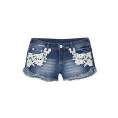 Junior's Lace Detail Denim Short ($20) ❤ liked on Polyvore featuring shorts, juniors and juniors' shorts