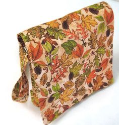Small Messenger Bag, Autumn Leaves Print Messenger Bag, Small Bag Magnetic Closure - pinned by pin4etsy.com