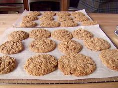 The Oatiest Oatmeal Cookies Ever. Great Alton Brown recipe!! NO FLOUR of any kind (gluten free!) and the toasted oats add a really nice flavor. Also, I soaked the raisins in hot water and vanilla extract instead of brandy. ;) #tasty