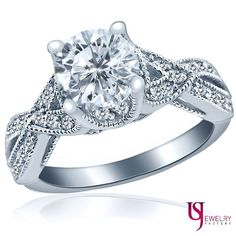 1.57ct E/SI1 Round Ideal Cut Diamond Engagement Ring 14k White Gold Waved Band Design