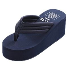 LOVEBEAUTY Womens High Wedge Beach Sandal Flip Flop US 8 Navy Blue -- Read more reviews of the product by visiting the link on the image.